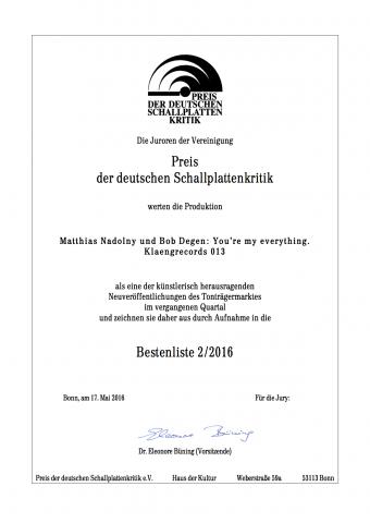 Urkunde Schallplattenpreis